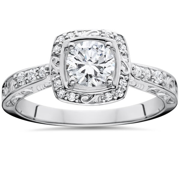 14k White Gold 7/8 ct TDW Sculptural Diamond Engagement Ring