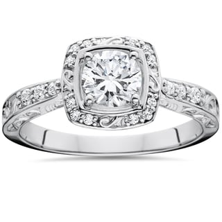14k White Gold 7/8 ct TDW Sculptural Diamond Engagement Ring