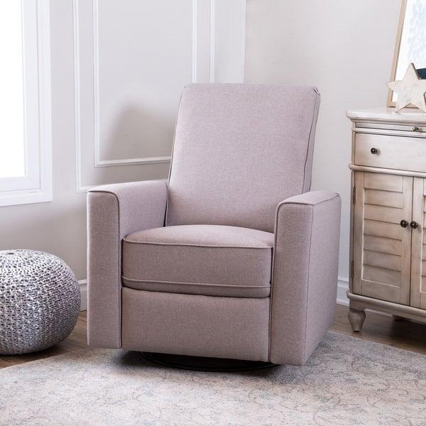 Abbyson Hampton Light Taupe Grey Linen Uphostered Nursery Swivel Recliner Chair