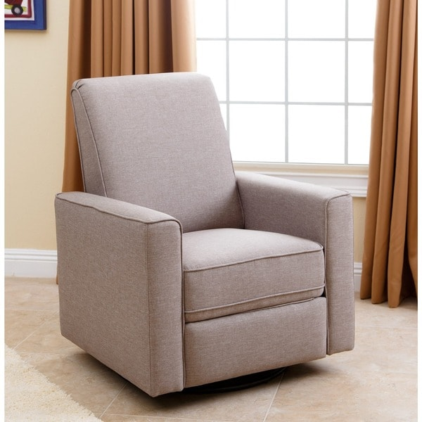 Abbyson Hampton Light Taupe Grey Linen Uphostered Nursery Swivel Recliner  Chair