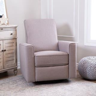 Abbyson Hampton Light Taupe Grey Nursery Swivel Recliner Chair