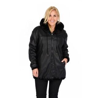Excelled Women's Plus Reversible Black Car Coat