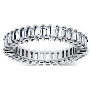 Annello by Kobelli 14k White Gold 3 1/4ct TDW Baguette Diamond Eternity Ring