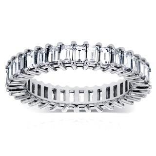 Annello by Kobelli 14k White Gold 3 1/4ct TDW Baguette Diamond Eternity Ring
