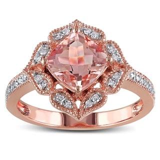 Miadora 10k Rose Gold Morganite and 1/10ct TDW Diamond Ring (G-H, I2-I3)