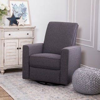 ABBYSON LIVING Hampton Charcoal Grey Nursery Swivel Glider Recliner Chair