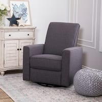 Abbyson Hampton Grey Nursery Swivel Glider Recliner Chair