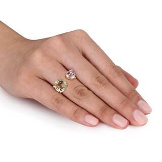 Miadora Yellow Silver Green Amethyst and Rose de France Ring
