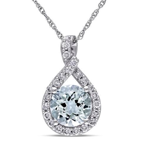 Miadora 10k White Gold Aquamarine and 1/5ct TDW Diamond Necklace (G-H, I2-I3) - Blue
