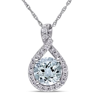 Miadora 10k White Gold Aquamarine and 1/5ct TDW Diamond Necklace (G-H, I2-I3)