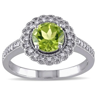 Miadora Sterling Silver Peridot and 1/6ct TDW Diamond Ring (G-H, I2-I3)