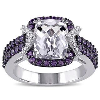 Miadora Sterling Silver Multi-gemstone and 1/10ct TDW Diamond Ring (G-H, I2-I3)