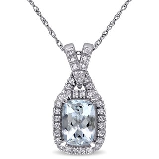 Miadora 10k White Gold Aquamarine and 1/6ct TDW Diamond Necklace (G-H, I1-I2)