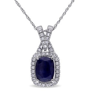 Miadora 10k White Gold Diffused Sapphire and 1/6ct TDW Diamond Necklace (G-H, I1-I2)