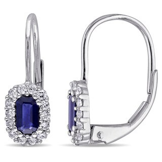 Miadora 10k White Gold White Sapphire and Sapphire Dangle Earrings
