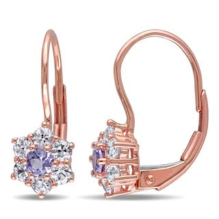 Miadora 10k Rose Gold White Sapphire and Tanzanite Dangle Earrings