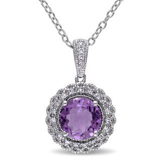 Miadora Sterling Silver Amethyst and 1/10ct TDW Diamond Necklace (G-H, I2-I3)