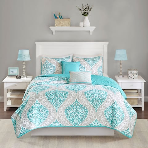Intelligent Design Lilly Damask Print Coverlet Set
