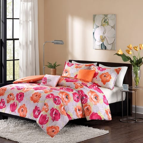 Intelligent Design Mila 5-piece Pink/ Orange Duvet Cover Set