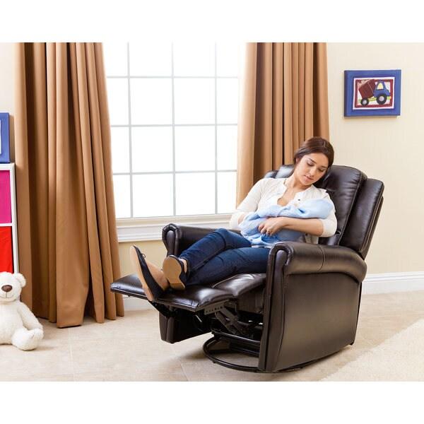 abbyson elena dark brown nursery swivel glider recliner chair free shipping today