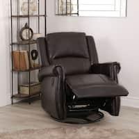 Abbyson Elena Dark Brown Nursery Swivel Glider Recliner Chair