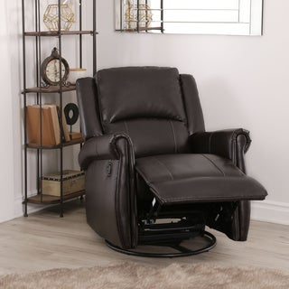 Abbyson Elena Dark Brown Swivel Glider Recliner Chair