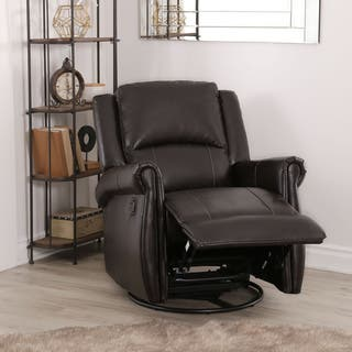 Abbyson Elena Dark Brown Swivel Glider Recliner Chair