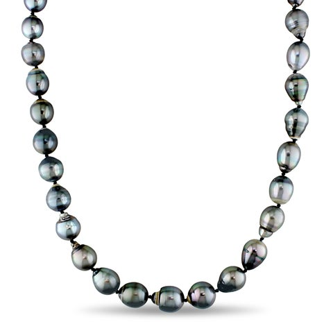 Miadora Signature Collection Tahitian Black Pearl Stand Necklace