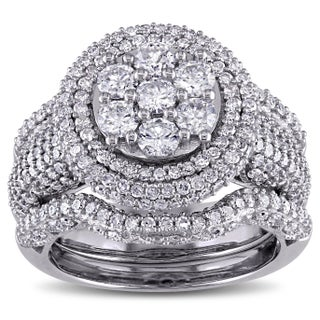 Miadora Signature Collection 2 1/2ct TDW Diamond Cluster Multi-Row Bridal Set in 10k White Gold (More options available)