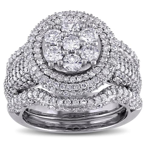 Miadora Signature Collection 2 1/2ct TDW Diamond Cluster Multi-Row Bridal Set in 10k White Gold