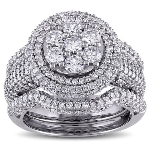 Miadora Signature Collection 2 1/2ct TDW Diamond Cluster Multi-Row Bridal Set in 10k White Gold