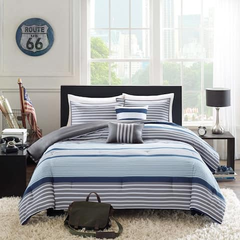 Intelligent Design Matteo 5-piece Blue Comforter Set