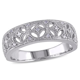 Miadora Sterling Silver Diamond Vintage Inspired Band (G-H, I2-I3)
