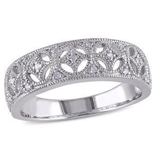 Miadora Sterling Silver Diamond Vintage Inspired Band