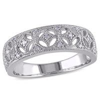 Miadora Sterling Silver Diamond Vintage Inspired Band - White
