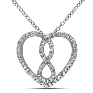 Miadora Sterling Silver Diamond Infinity Heart Necklace (H-I, I3)