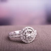 Miadora Sterling Silver Diamond Ring