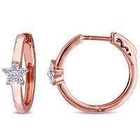 Miadora 10k Rose Gold 1/4ct TDW Diamond Hoop Earrings