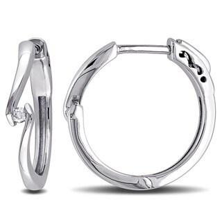 Miadora 10k White Gold Diamond Accent Hoop Earrings