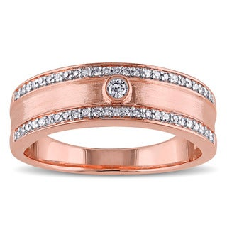 Miadora 10k Rose Gold 1/5ct TDW Bezel Diamond Band