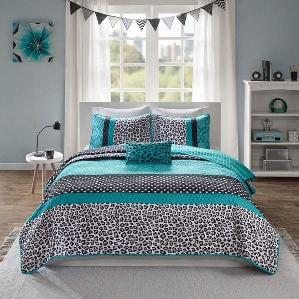 Mi Zone Camille Teal Pieced Animal Print Coverlet Set