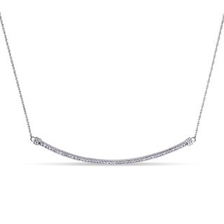 Miadora 10k White Gold 1/4ct TDW Diamond Curved Bar Necklace (G-H, I2-I3)