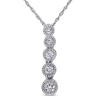 Miadora 10k Gold 1/4ct TDW Diamond Linear Journey Necklace