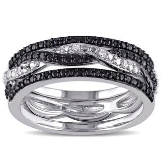 Miadora Sterling Silver Black and White Diamond Ring