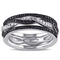 Miadora Sterling Silver Black and White Diamond Ring