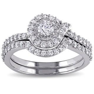 Miadora Signature Collection 10k White Gold 3/4ct TDW Swirl Diamond Promise Bridal Ring Set