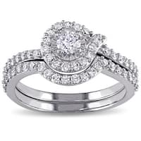 Miadora Signature Collection 10k White Gold 3/4ct TDW Swirl Diamond Promise Bridal Ring Set