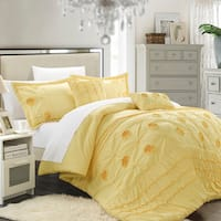 Chic Home Florian Floral Pleated 5-piece Comforter Set
