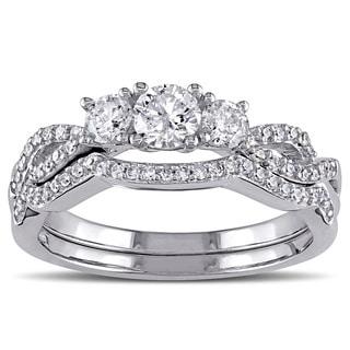 Miadora Signature Collection 10k White Gold 3/4ct TDW Diamond Bridal Ring Set