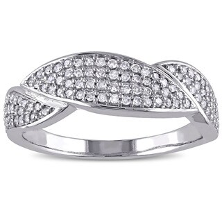 Miadora 10k White Gold 1/3ct TDW Diamond Band